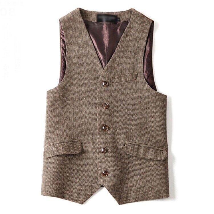 Vintage Men's Formal Business Casual Button Slim Fit Wool Blend Vest Waistcoat