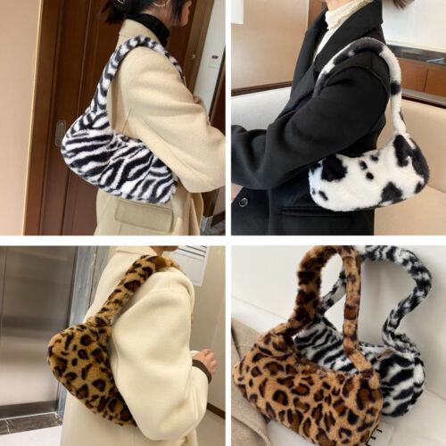 Details about  /Cute Soft Faux Fur Clutch Handbag Leopard Print Crossbody Purse Shoulder Bag