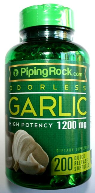 Odorless Garlic 1200mg 200 High Potency Quick Release Softgels Heart Health Pill
