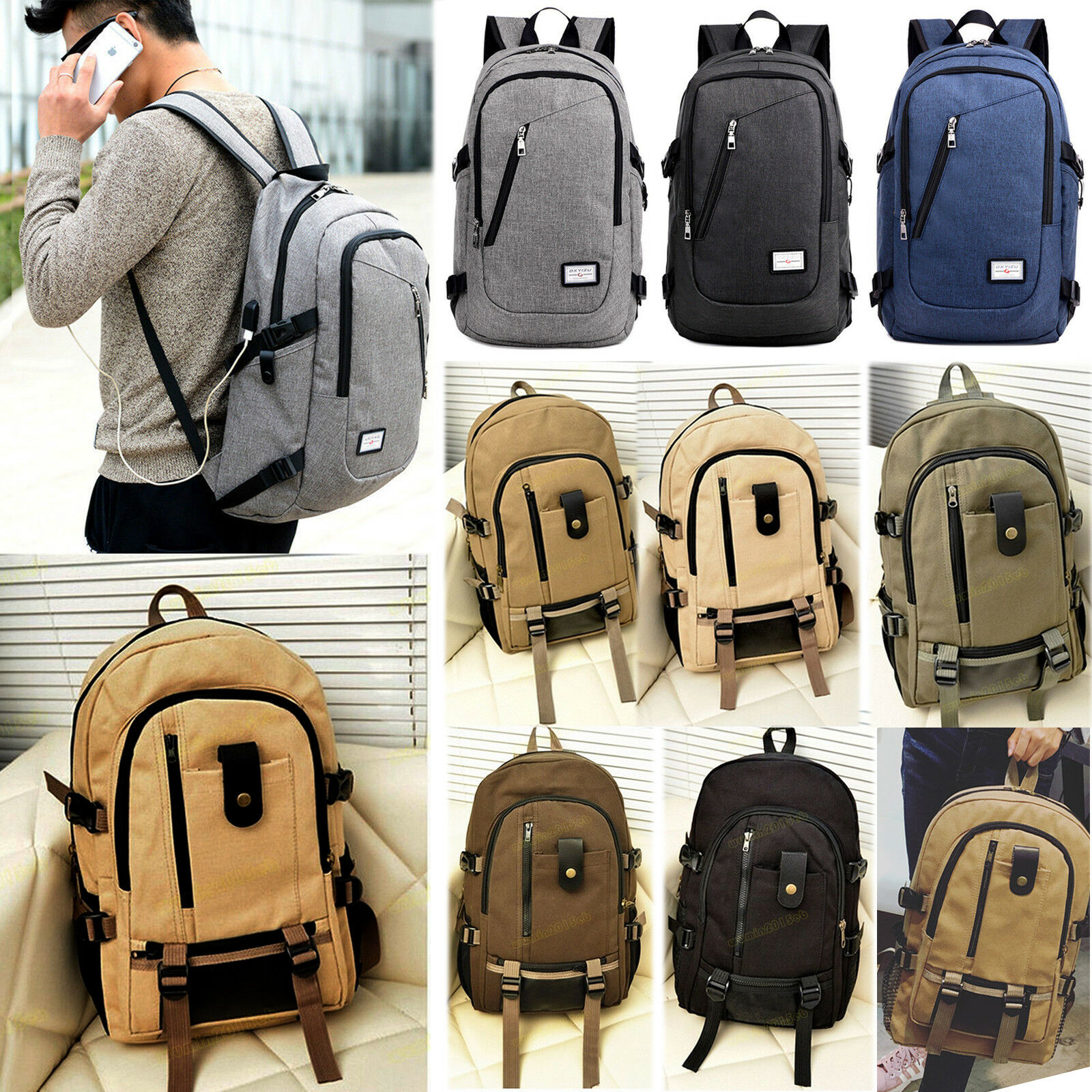 Men Women Canvas Retro Schoolbag Rucksack Laptop Travel Hiking Camping... - s l1600