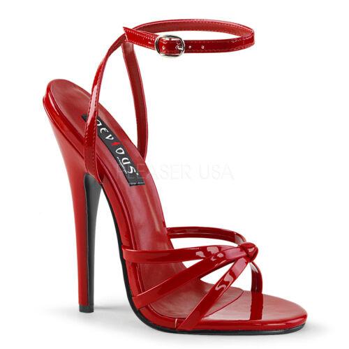 "6/"" Red Stiletto Strappy High Heels Mens Crossdresser Drag Shoes size 12 13 14 15"