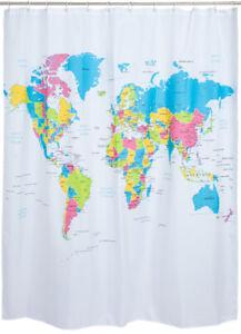 Duschvorhang Weltkarte Badewanne World Map Atlas Welt Karte