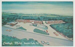 Unused-Postcard-Conleys-Motel-Beaver-Falls-Pennsylvania-PA
