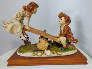 Vintage 1970's Armani Capodimonte Boy and Girl on Seesaw Figurine Italy signed