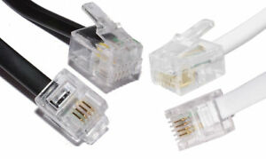 BT Broadband Modem ADSL Router Cable RJ11 to RJ11 Lead 2m - 25m Black and White
