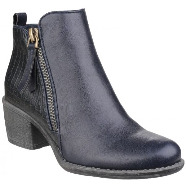 Divaz DENCH Ladies Faux Leather Stylish Comfort Side Zip Ankle Boots Navy