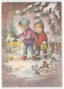 Tarjeta-Postal-Navidad-Vintage-Ninos-Linterna-Regalo-por-Navidad-Paisaje-Nevado