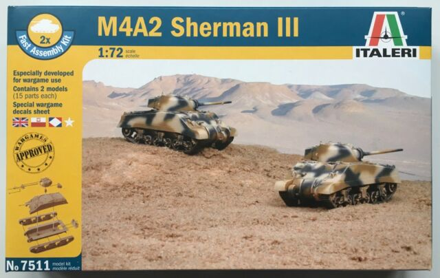 Italeri 7511 M4A2 Sherman III 1/72 Model Kit NIB