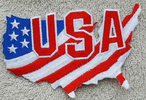 USA FLAG MAP PATCH Cloth Badge Biker Jacket Iron or Sew United