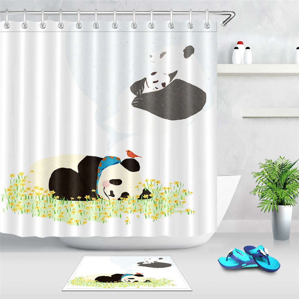 Panda Grass Flower Waterproof Bathroom Polyester Shower Curtain Liner Water Hook Fcbba7