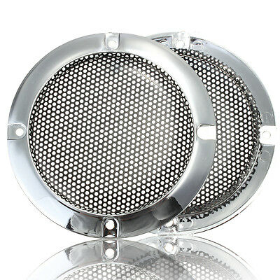 "2PCS 4"" Inch Silver Circle Speaker Decorative Circle With Protective Grille Mesh"