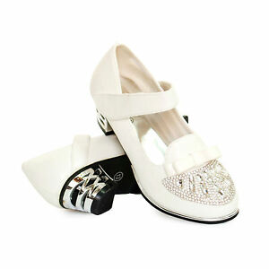 d632776b610c GIRLS KIDS CHILDRENS LOW HEEL PARTY WEDDING MARY JANE STYLE SANDALS SHOES  SIZE