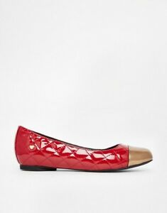 3f3bae5bf7 Love Moschino Red Quilted Ballerinas With Gold Toe Cap Size EU36 UK3 ...