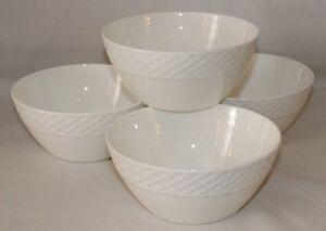 Mikasa-Trellis-White-Bone-China-Small-Fruit-Dessert-Bowls-Set-of-Four-New