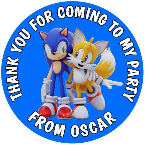PERSONALISED SONIC THE HEDGEHOG /& TAILS GLOSS BIRTHDAY PARTY SWEET CONE STICKERS