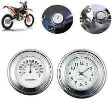Motorcycle 7/8'' Handlebar Mount Dial Clock Watch Thermometer Gauge Universal