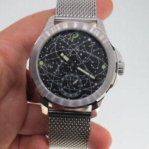 44mm-Parnis-Hand-Winding-Movement-Men-039-s-Mechanical-Watch-Luminous-Marker-SS-Band