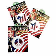 3 Body Crystals Sparkle Decals Temporary Tatoo USA FLAG THEME 4th of July