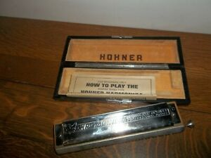Vintage HOHNER 64 Chromonica C HARMONICA  4  Octaves Pro Model Case&Instructions