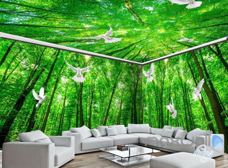3D Pigeon Grün Forest Tree Top Entire Living Room Wallpaper Wall Mural Art Deco