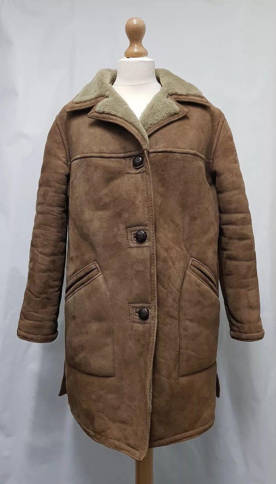 Women TabcareLTD. 100% Real Sheepskin Coat Size 10 Womens Winter Coat Brown Coat