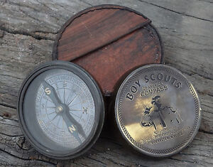 NAUTICAL VINTAGE ANTIQUE STYLE BRASS BOY SCOUT POEM COMPASS COLLECTABLE GIFT
