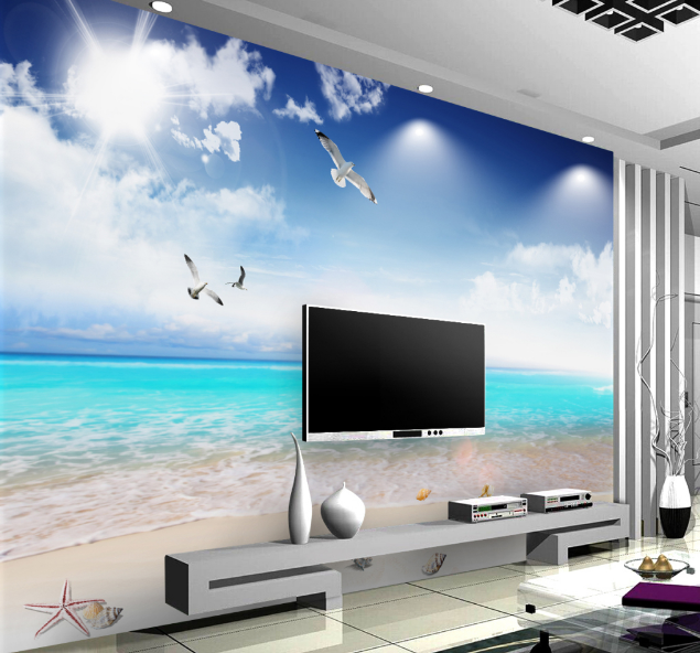 3D Vogel Strand Wolke 8 Tapete Wandgemälde Tapete Tapeten Bild Familie DE Summer