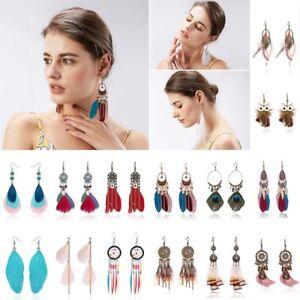 Vintage-Multicolor-Tassel-Feather-Bead-Drop-Dangle-Earrings-Women-Jewelry-Gift