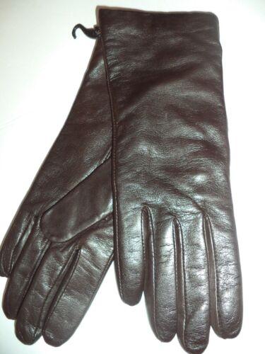 Grandoe 100/% Cashmere Lined Leather Gloves,Brown Large