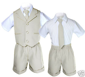 71aad487f Light Khaki Color Boy Toddler Eton Formal Vest Shorts Outfits Suit ...