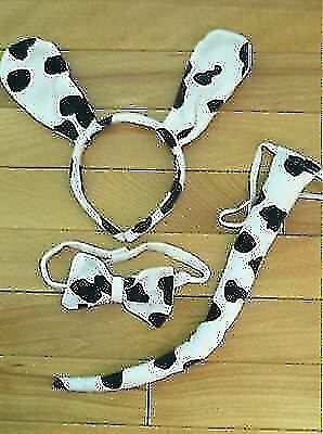 Dalmatian Dog Child Ears Headband Bow Tie Tail Black White Fun Costume Accessory