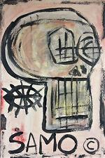 Jean-Michel Basquiat * Skull * SAMO Postcard Style gouache painting