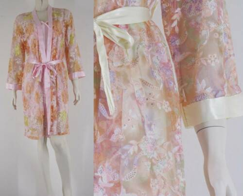 Delicate Sheer Chiffon Robe /& Silk Satin Blend Sheer Bust Slip Warm Colours