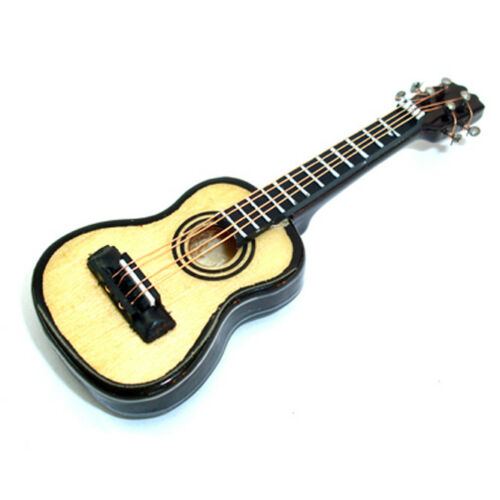 "Miniature Guitar 1/"" Scale Dollhouse Guitar Music Doll Wooden Musical Instrument"