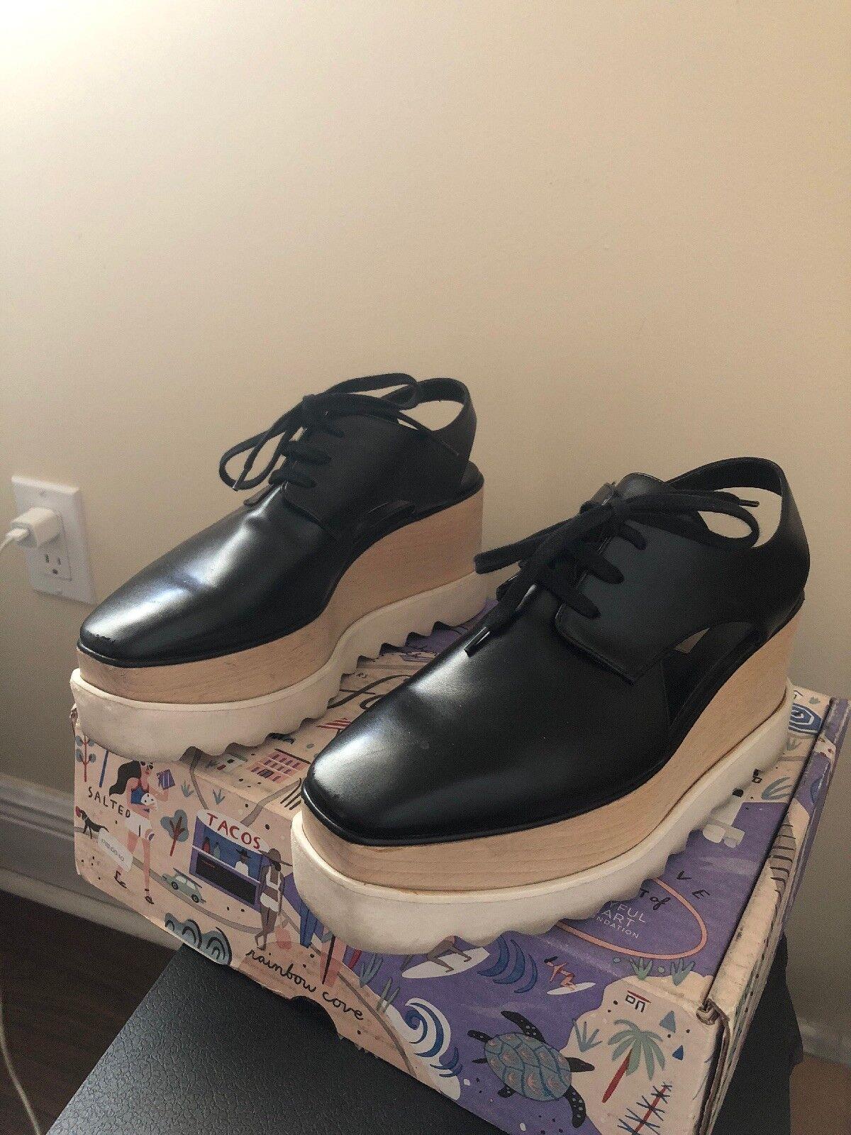 100% Authentic STELLA MCCARTNEY  Black Elyse Platform Ankle shoes