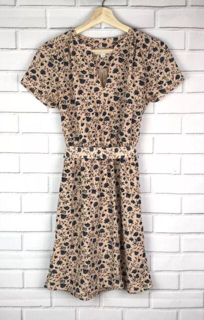 Ann Taylor Loft Women's Size XS Pink Blue Floral V-Neck Tie-Waist Lined Dress