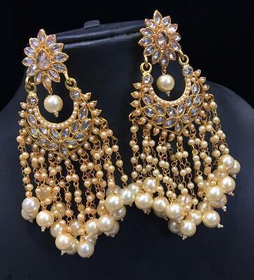 Indian Ethnic Fashion Pearl Long Bollywood Wedding Wear Jewelry Earring Set Ebay
