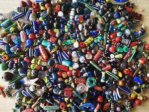 Original-Indische-Glasperlen-Mix-verschiedene-Designs-Farben-amp-Groessen-pro-80g