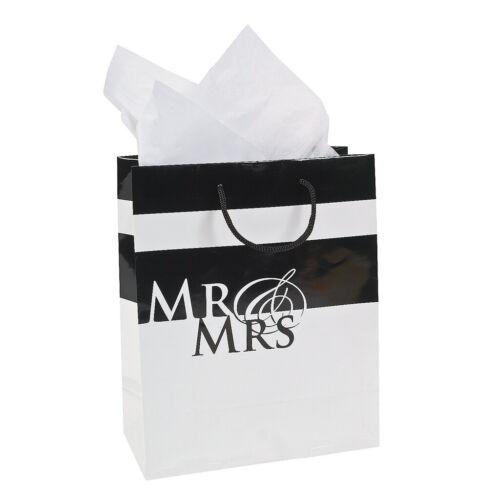 """Geschenktüte /""""Mr /& Mrs/"""" schwarz-weiß Hochzeit Party Tasche Feier Geschenk Deko"""