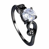 Size 7-9 High Quality Valentine's day Lady White Sapphire Black Jewelry Gift