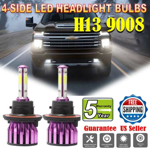 2X LED Headlight H13 9008 6000K Low High Beam Fog DRL Bulbs White 1800W 270000LM