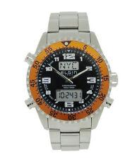 Elgin 1863 Men's Analog Digital Chronograph Stainless Steel Orange Bezel Watch