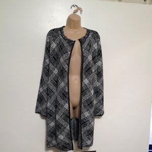 George-black-white-mix-tweed-knittwear-cardigan-boyfriend-chunky-jacket-Size-16