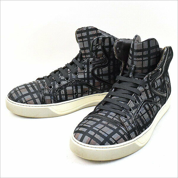 LANVIN 10SS patent leather trim mid-cut check sneakers black 6