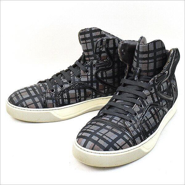 LANVIN 10SS patente Tapicería de Cuero Negro Zapatillas de comprobación de corte medio 6