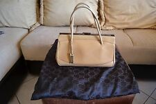 GUCCI Beige Leather Small/Med Frame Structured Bag Satchel Purse VGUC Dustbag