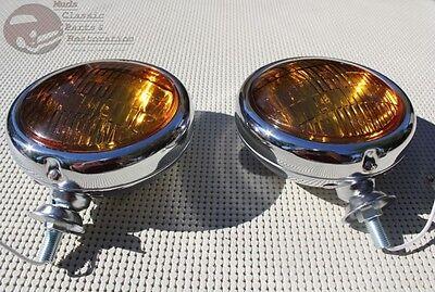"Amber 5"" 12 Volt Custom Mounted Fog Lights Lamps Vintage Style Car Truck Hot Rod"
