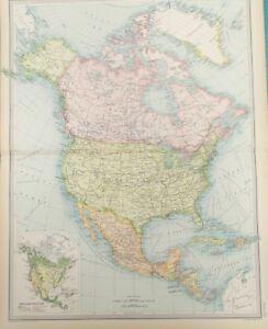 Map of North America. 1922.UNITED STATES. CANADA. MEXICO. Original ...