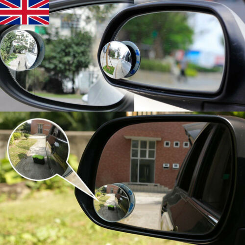 """2Pcs Adhesive 2/"""" ROUND BLIND SPOT WIDE ANGLED MIRROR Easy Fit Car Wing Safety UK"""