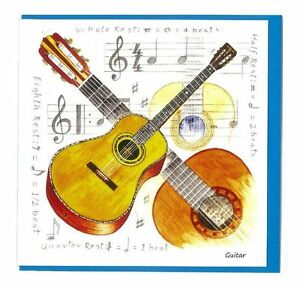 notelets acoustic guitar pack of 5 thank you cards music musician present gift 5018202058625 ebay. Black Bedroom Furniture Sets. Home Design Ideas